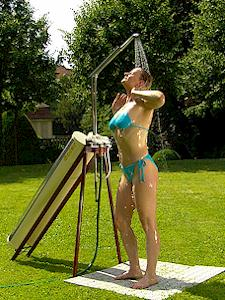 Solar fizz, the worlds most flexible solar powered garden shower